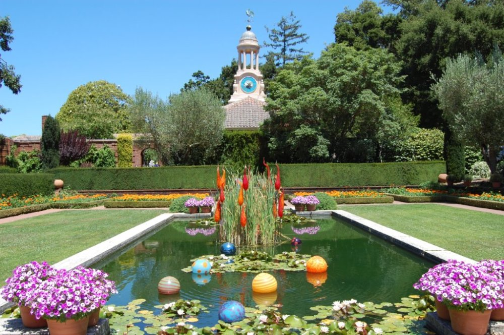 Filoli Glass Sculpture in Reflection Pool