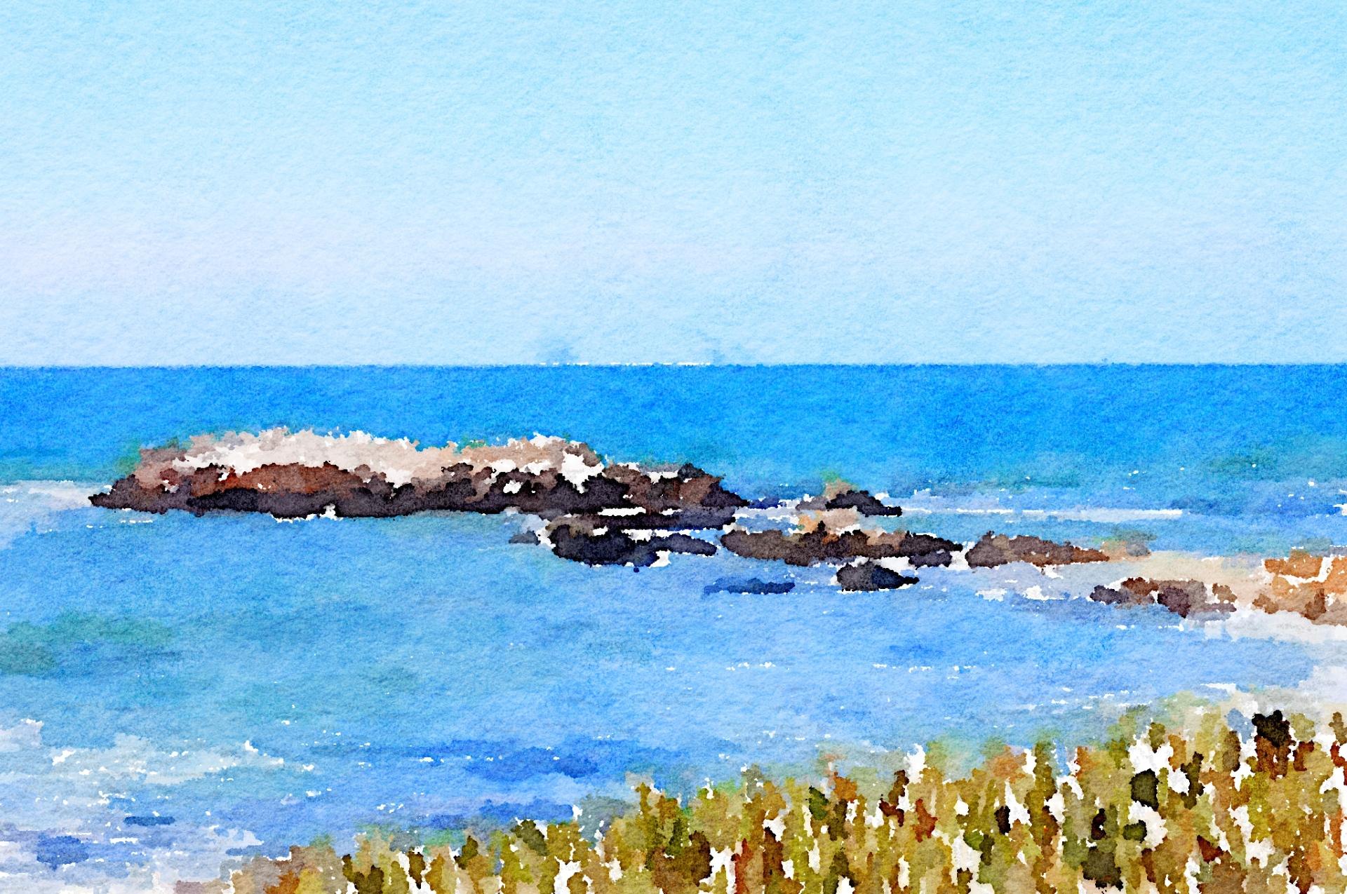 view-from-pescadaro-beach-waterlogue