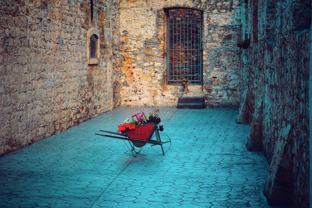 A Lone, Red Wheelbarrow in Old Town Nafplio