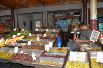 Olive and Pepper Vendor at the Athens Public Market