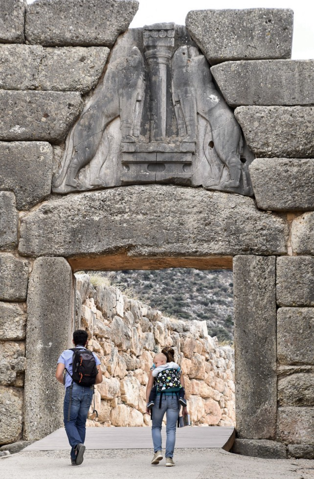 The Lion Gate at Mycenae, the only known monumental sculpture of Bronze Age Greece.