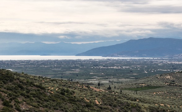 View of the fertile plain of Argolis and the Argolic Gulf.